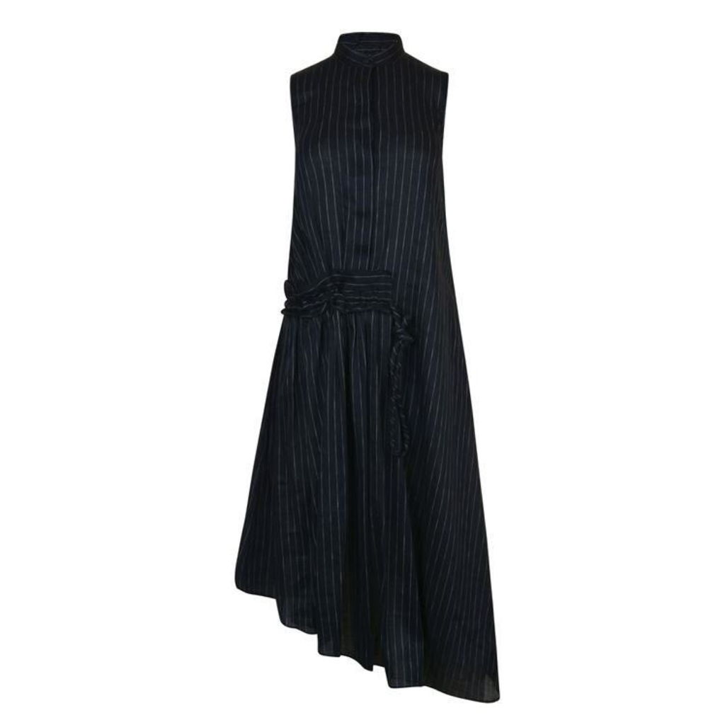 VICTORIA BY VICTORIA BECKHAM Pinstripe Ruffle Linen Dress