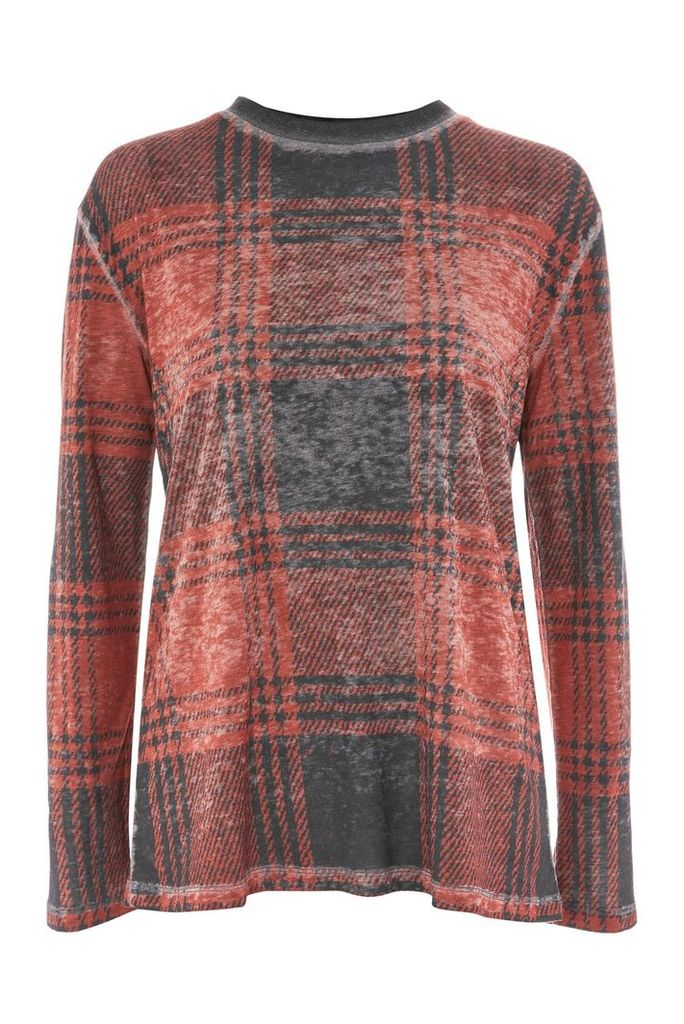 Womens Acid Check Long Sleeve Top - Bright Red, Bright Red