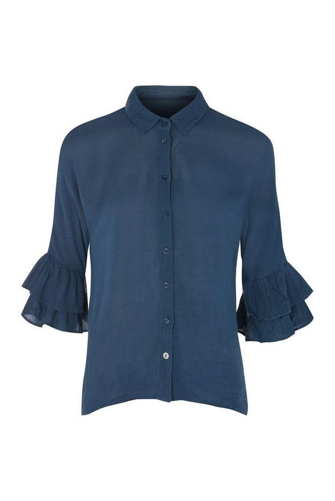 Womens Ruffle Sleeve Shirt - Navy Blue, Navy Blue