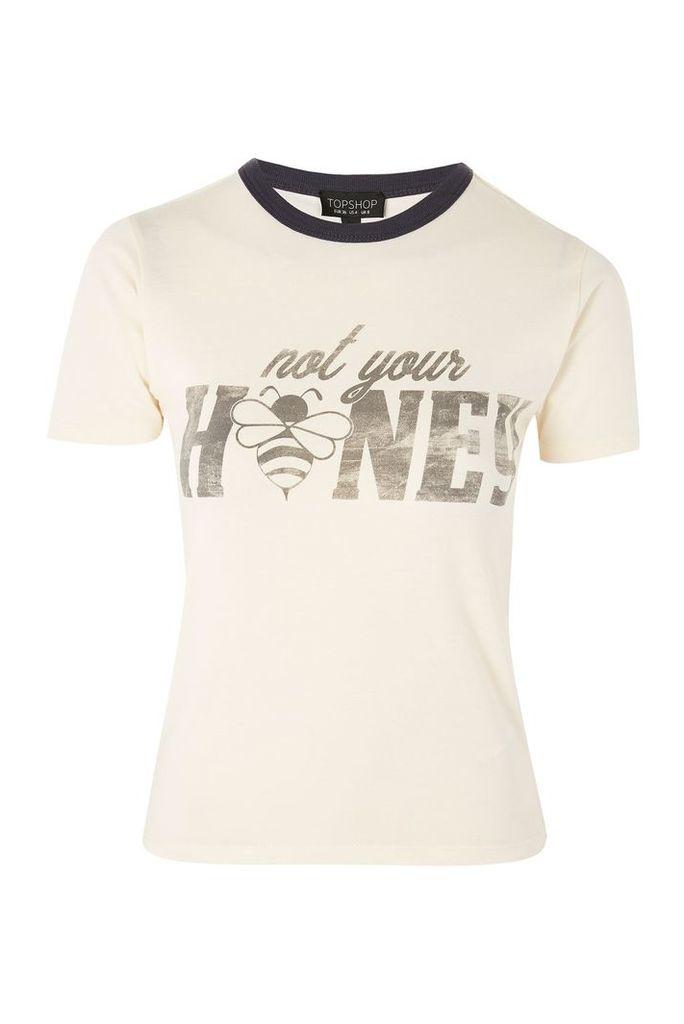 Womens 'Not Your Honey' Slogan T-Shirt - Cream, Cream