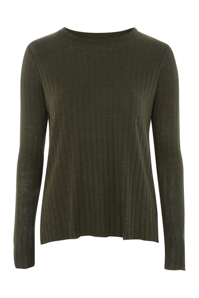 Womens Cut and Sew Long Sleeve Top - Khaki, Khaki