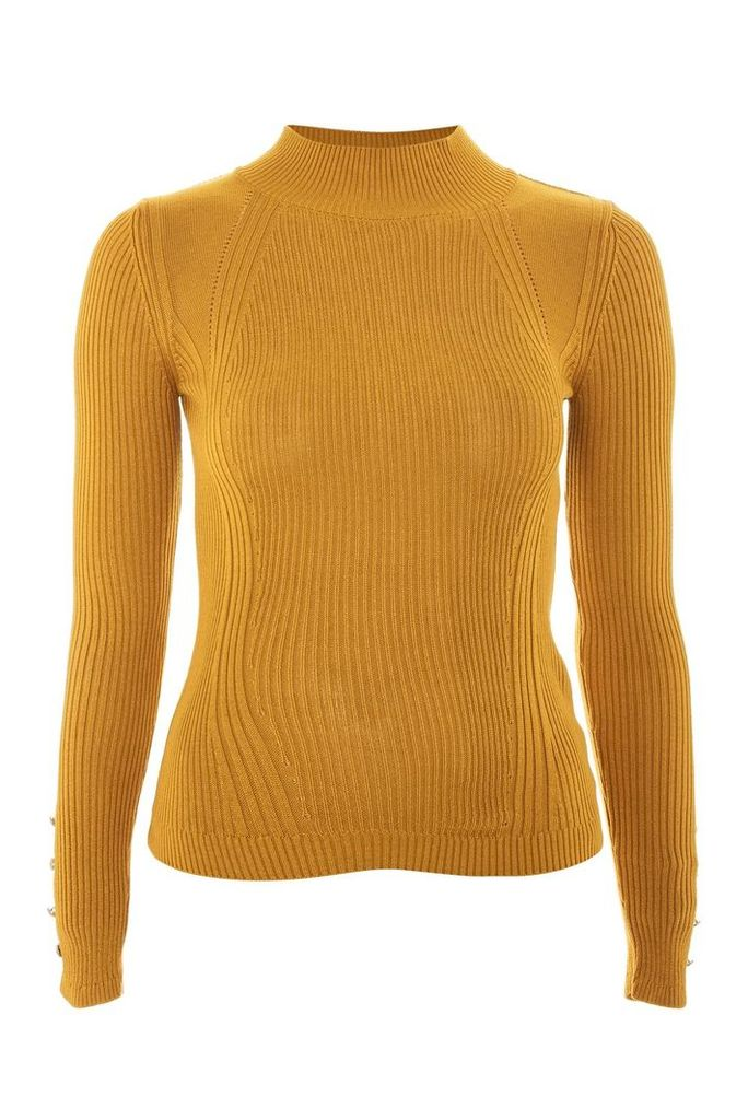 Womens Roll Neck Button Detail Jumper - Mustard, Mustard