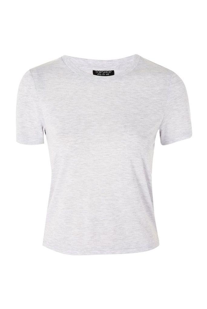 Womens TALL Neat Crew Neck T-Shirt - Grey Marl, Grey Marl