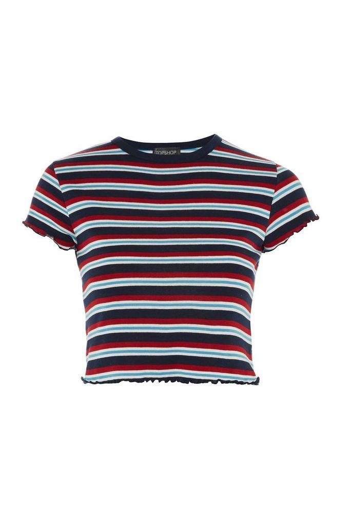 Womens Short Sleeve Striped Lettuce T-Shirt - Blue, Blue