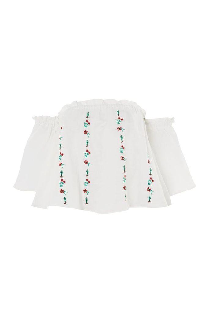 Womens Linear Cactus Bardot Top - White, White