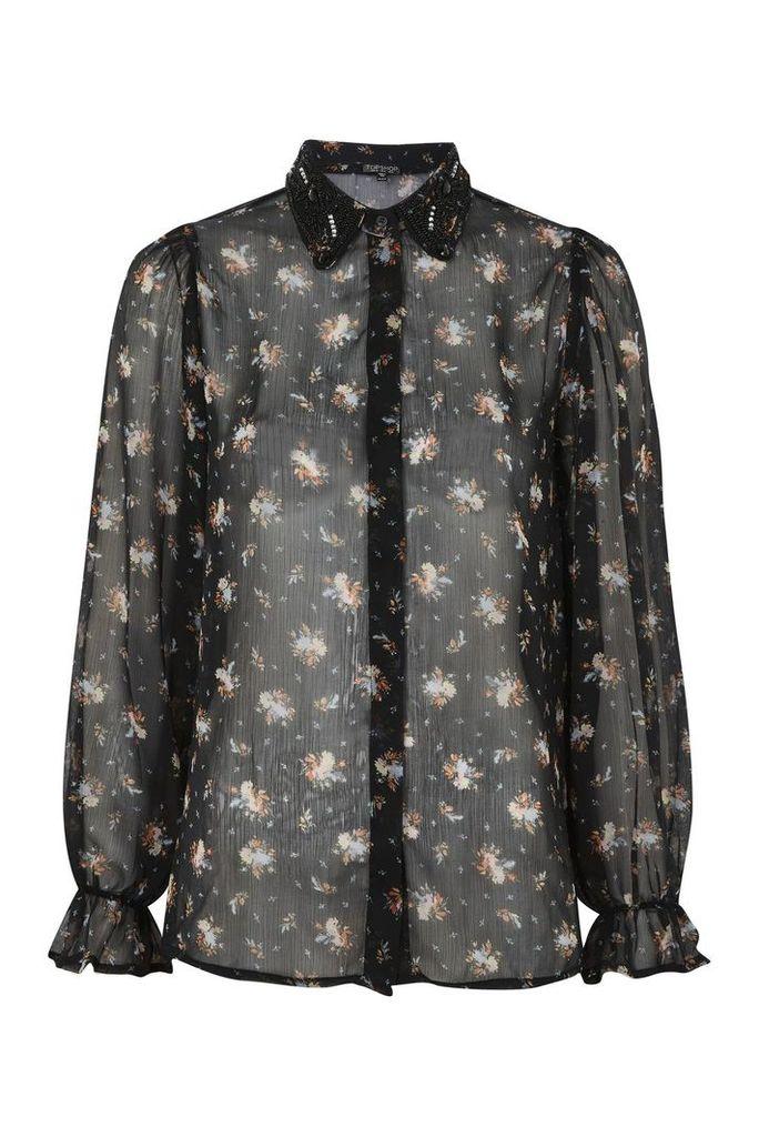 Womens Beaded Collar Ditsy Shirt - Black, Black