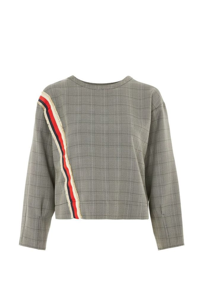 Womens Stripe Trim Checked Sweatshirt - Taupe, Taupe