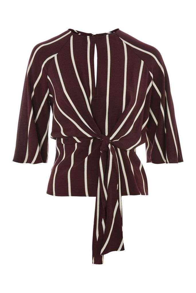Womens Slouchy Stripe Knot Front Top - Burgundy, Burgundy
