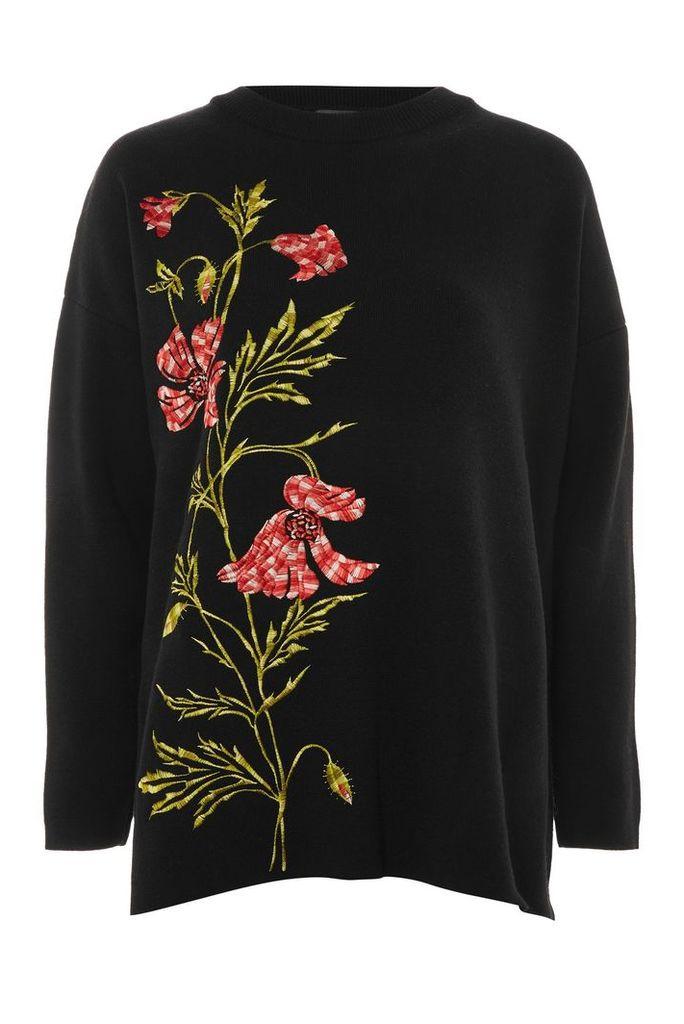 Womens Floral Embroidered Jumper - Black, Black