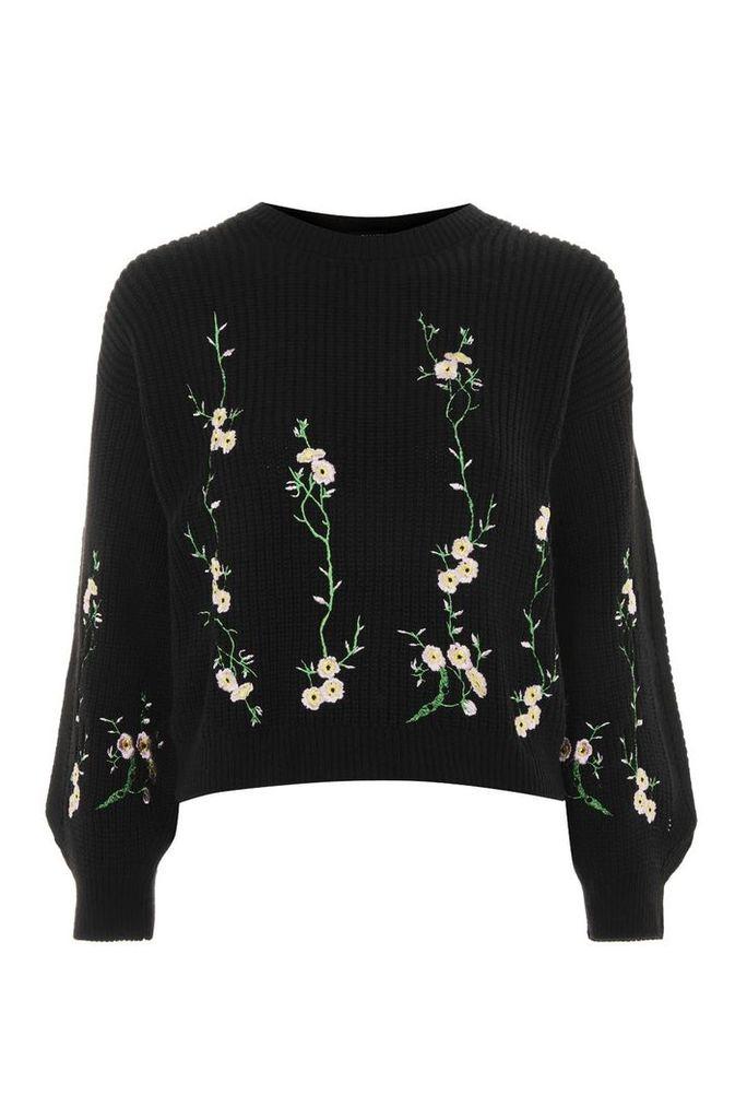 Womens Floral Embroidered Ribbed Jumper - Black, Black