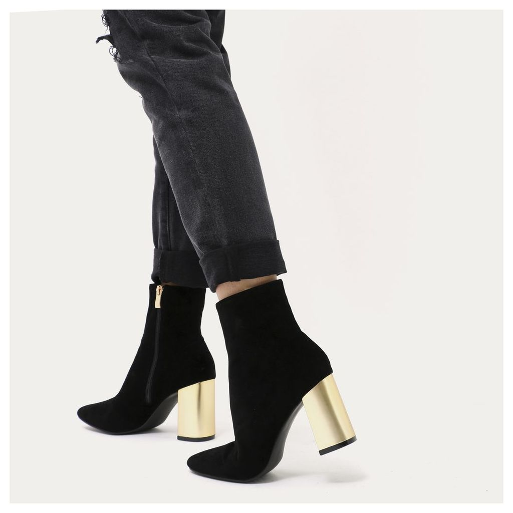 Orla Metallic Gold Heel Ankle Boots  Faux Suede, Black