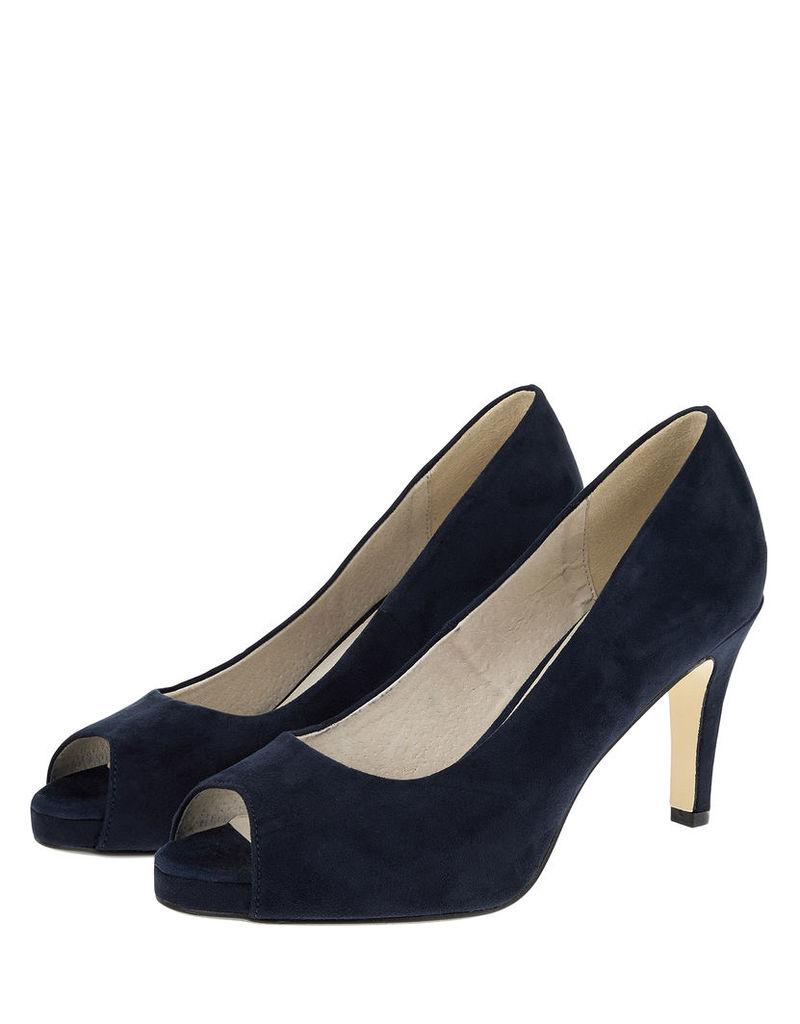 Nanelle Navy Peep Toe Heels