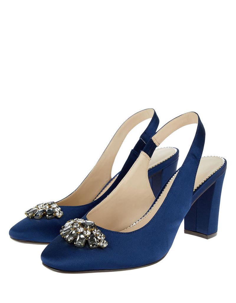 Julia Jewel Block Heel Sling Back Shoes