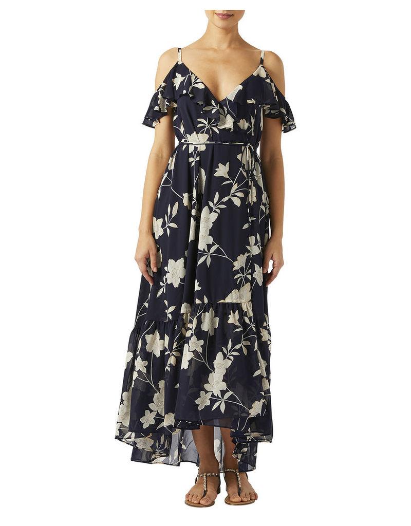 Maria Floral Print Ruffle Maxi Dress