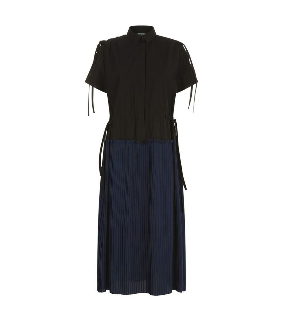 Pleated Midi Shirt Dress