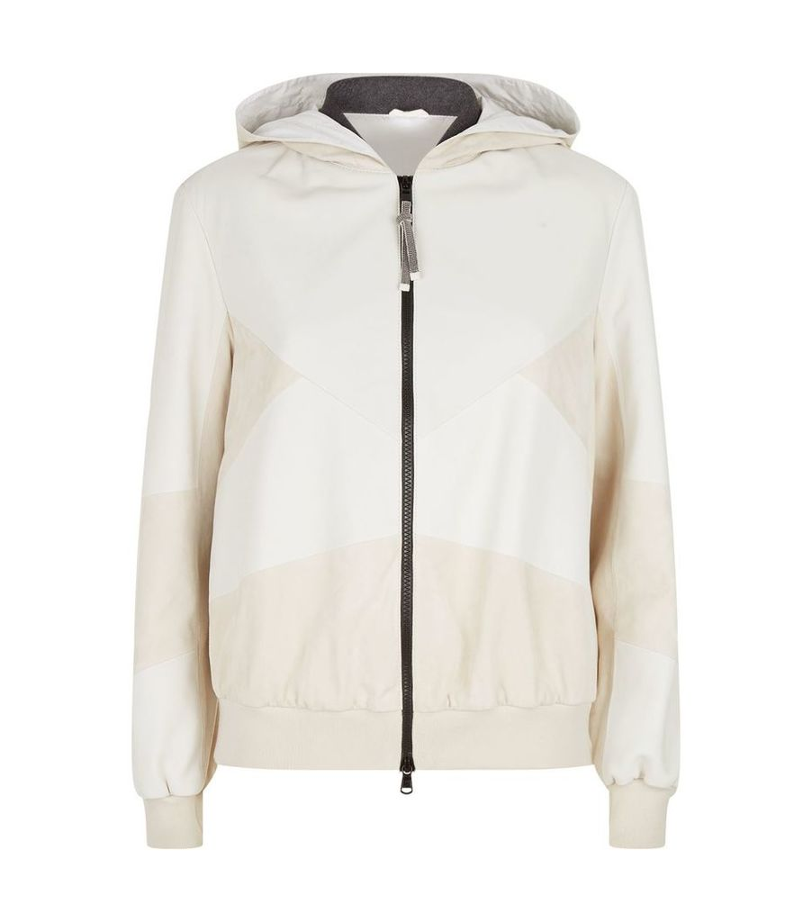 Leather and Suede Panel Hooded Jacket