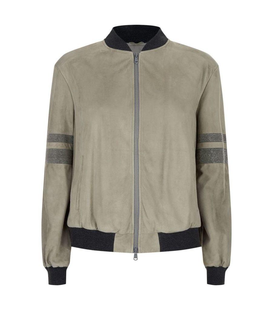 Suede Chain Embellished Bomber Jacket