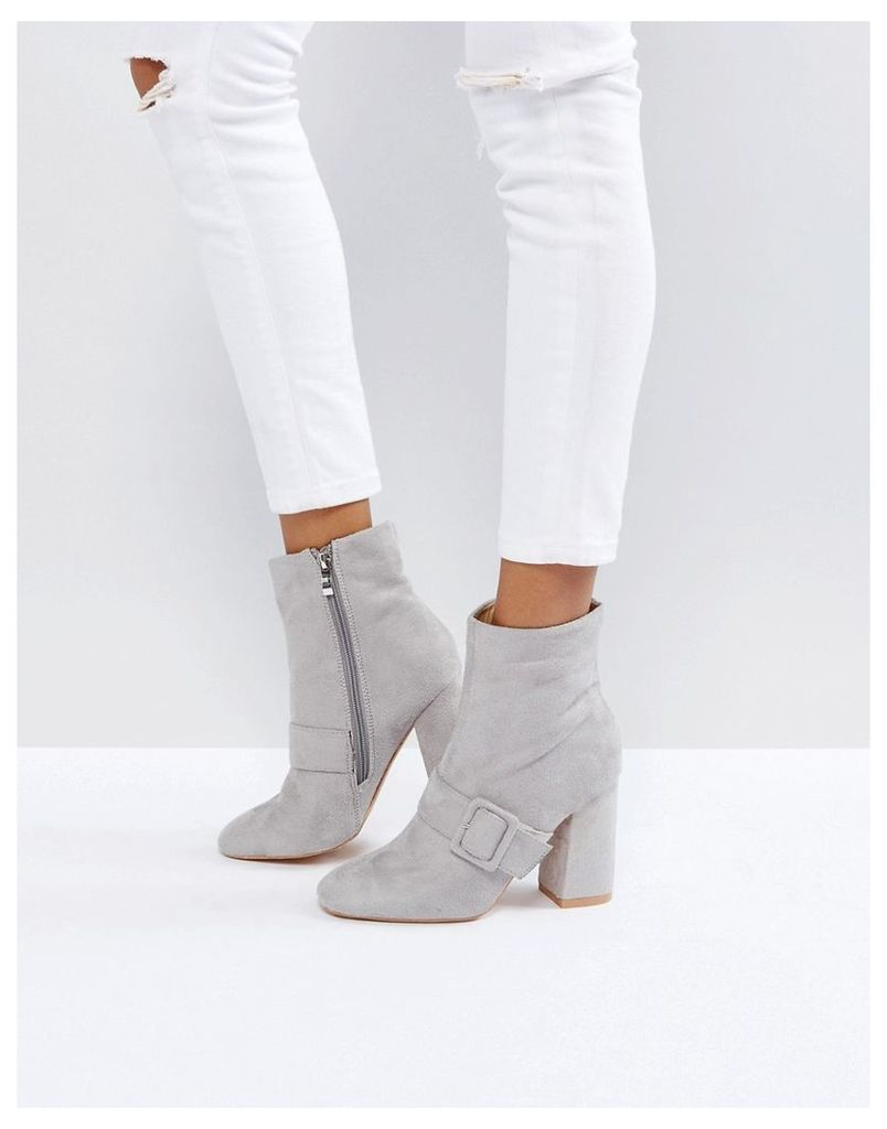 Glamorous Grey Buckle Detail Heeled Ankle Boots - Grey