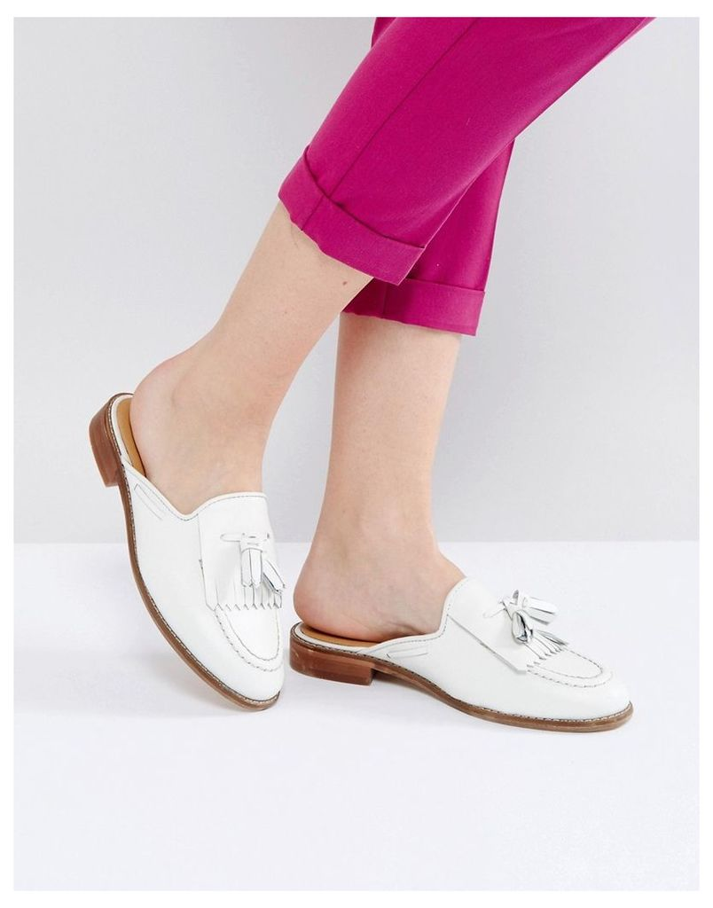 H by Hudson Flat Mule Loafer - White leather