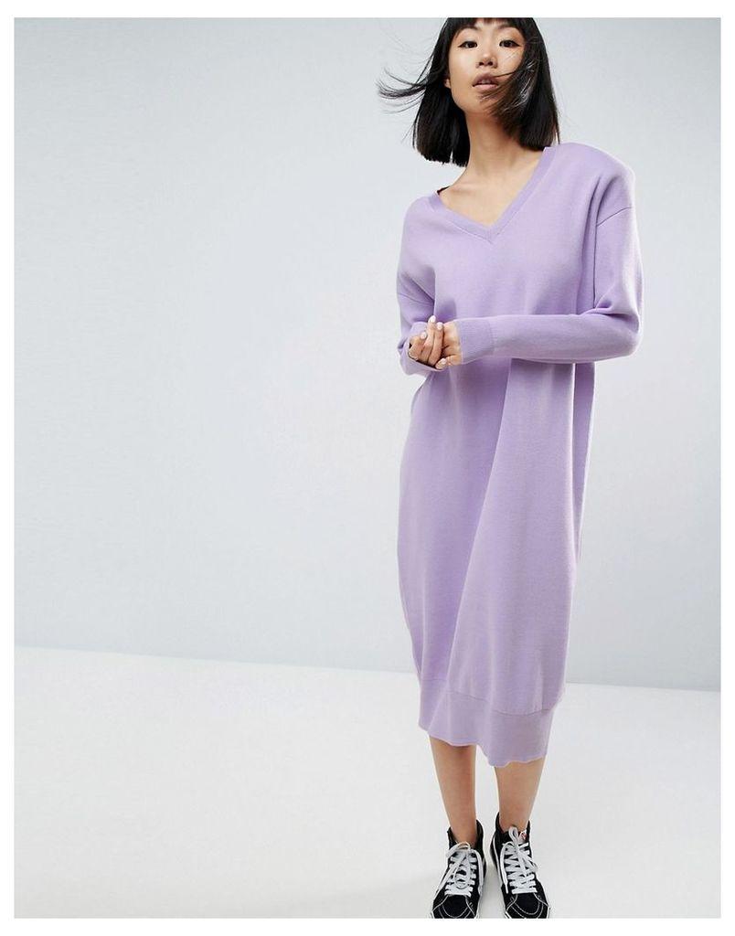 ASOS WHITE Shoulder Pad Knitted Midi Dress - Purple