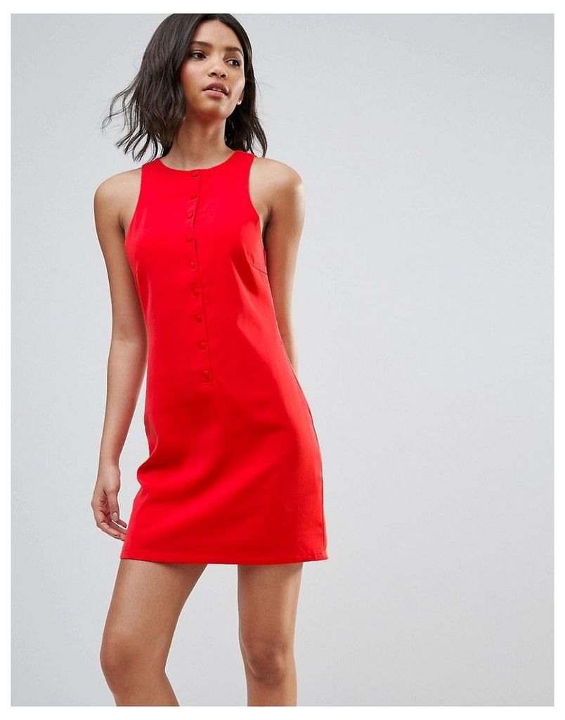 Neon Rose Button Front Mini Dress - Red