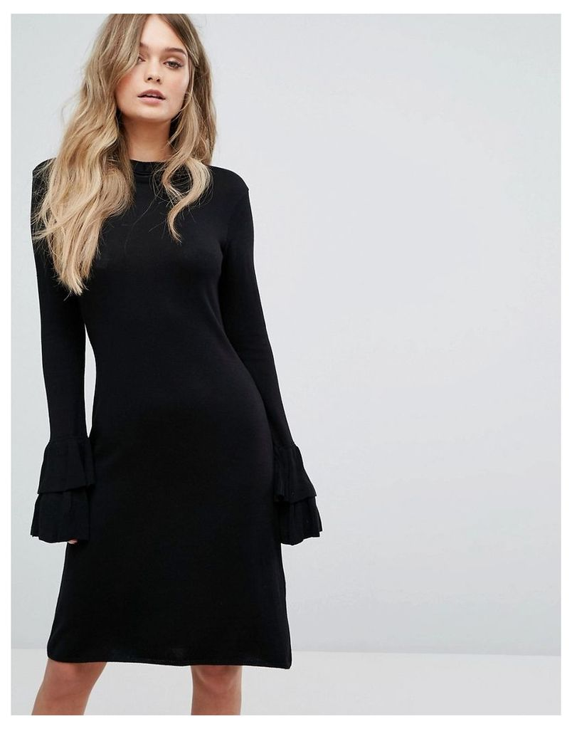 Y.A.S Knitted Dress With Ruffle Detail - Black