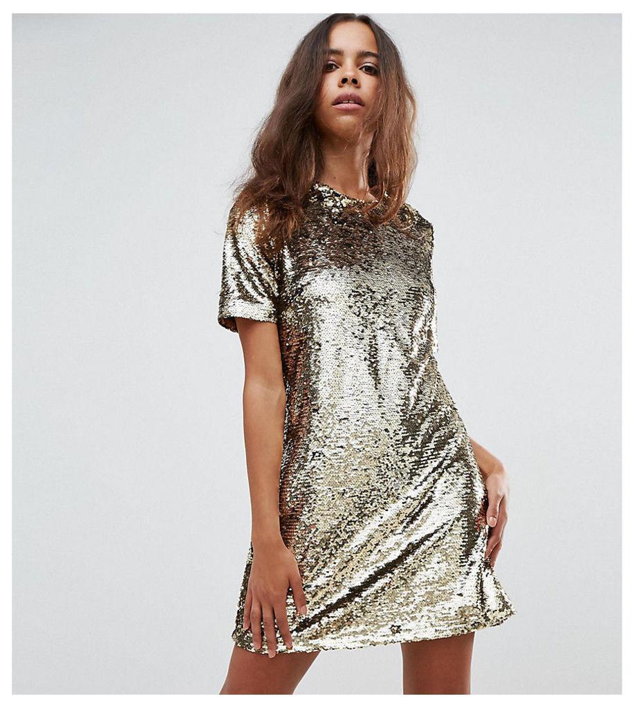 Fashion Union Petite Shift Dress In Sequin - Gold