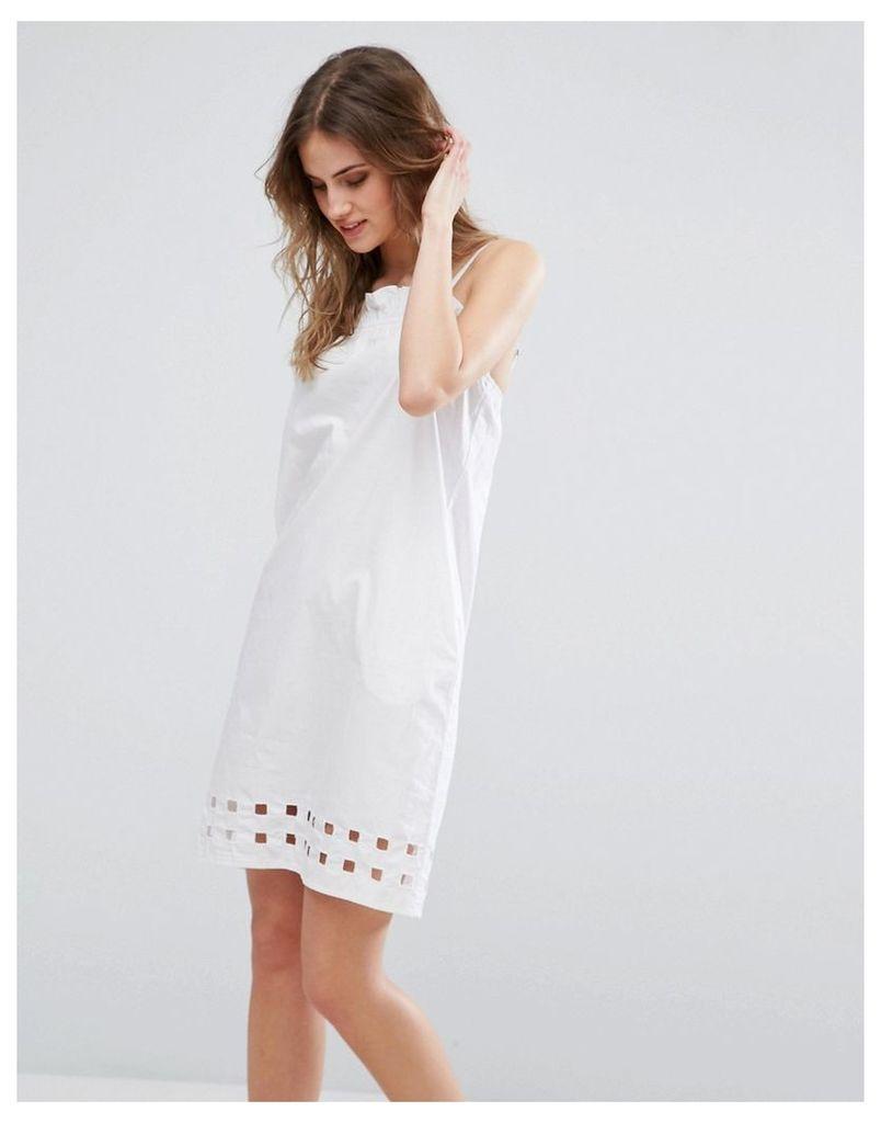 Warehouse Square Cutwork Cami Dress - White