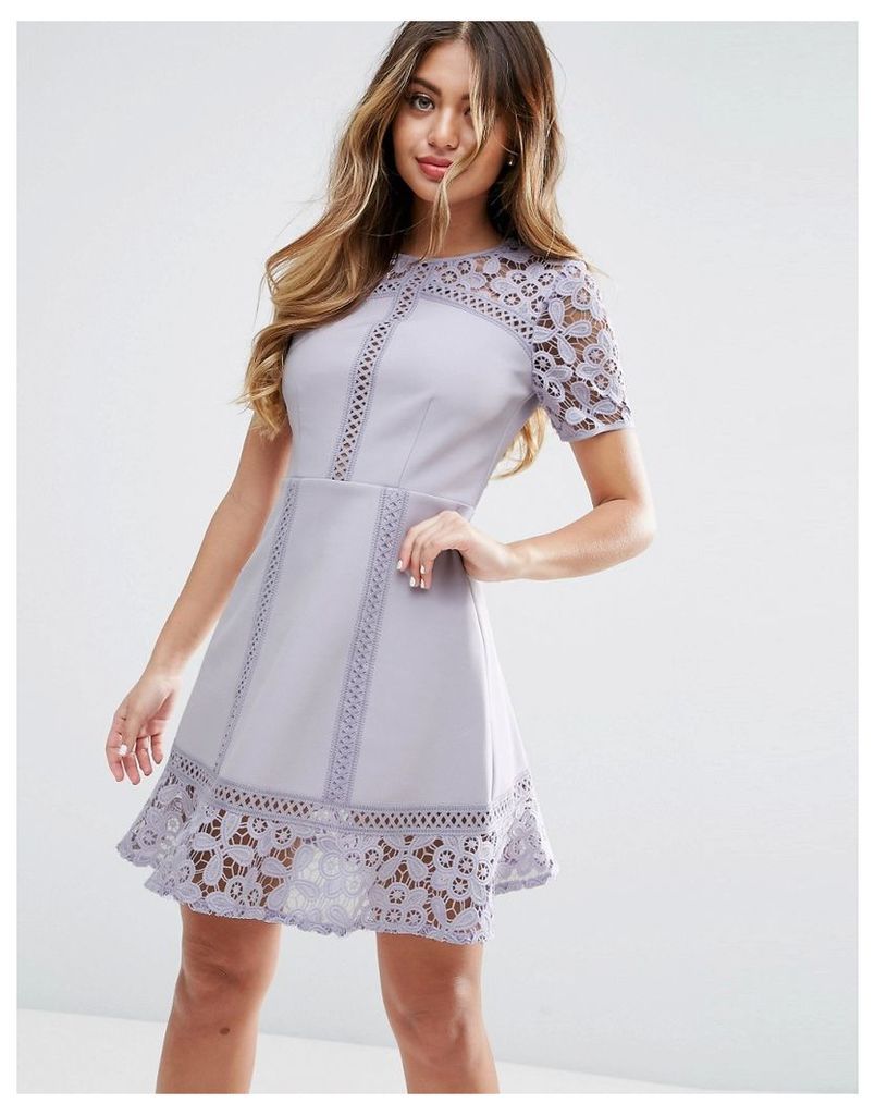 ASOS PREMIUM Lace Insert Mini Dress - Lilac