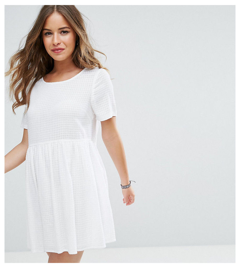 ASOS PETITE Casual Smock Dress in Grid Texture - White