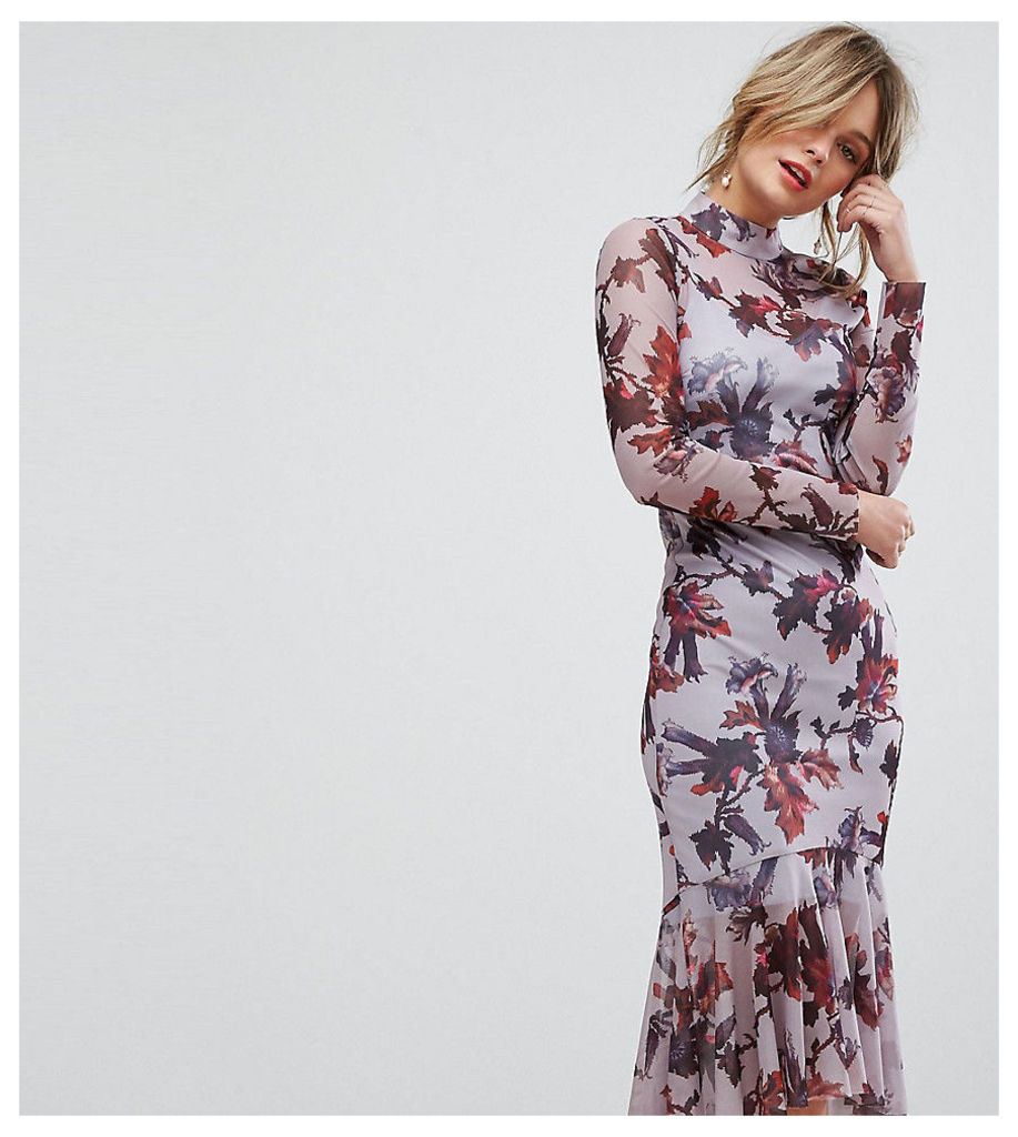 Hope & Ivy Long Sleeve Floral Printed Mesh Dress With Peplum Hem - Multi lilac