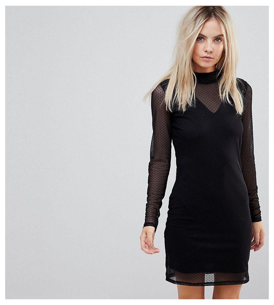 Vero Moda Petite Long Sleeve Mesh Mini Dress - Black