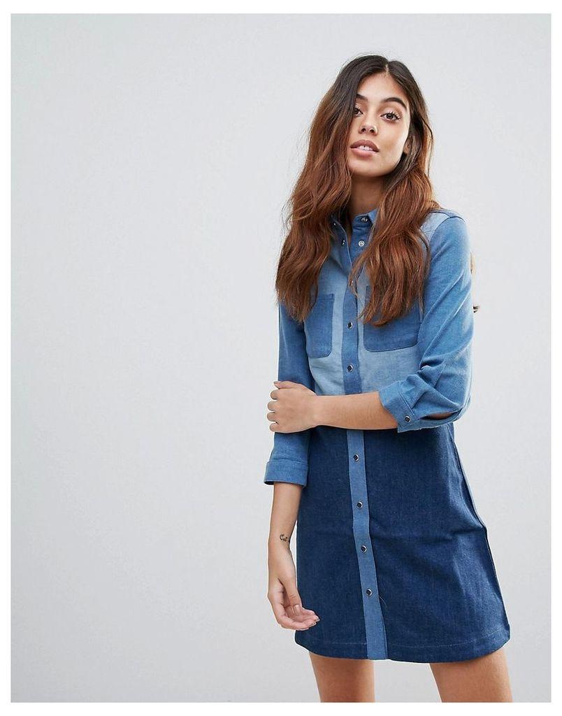 French Connection Edie Contrast Denim Shirt Dress - Blue multi
