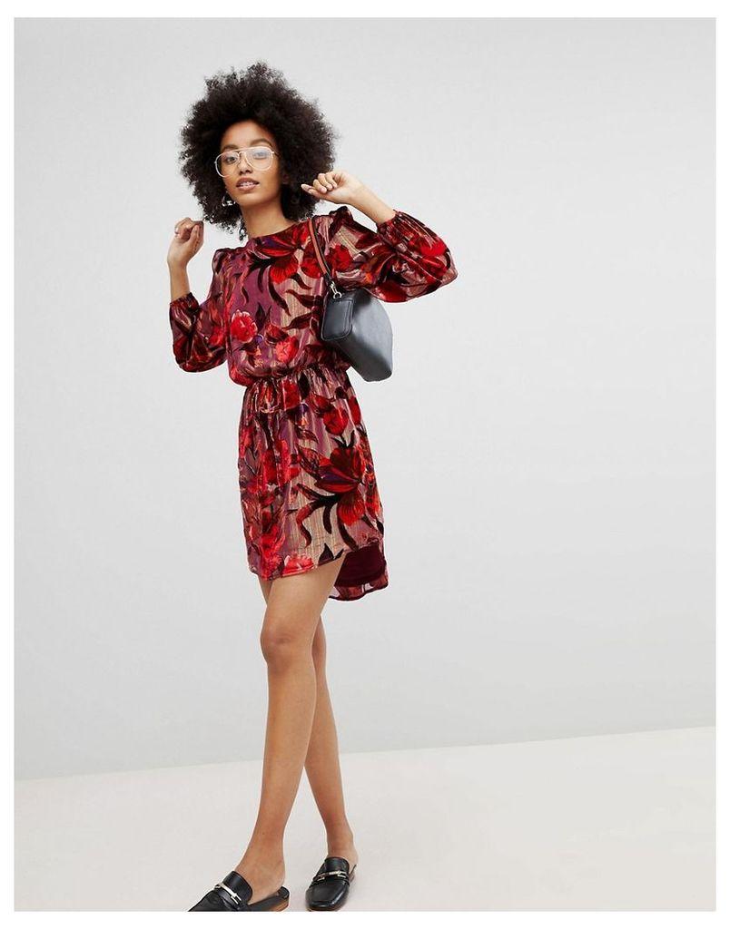 New Look Velvet Devore Mini Dress - Red