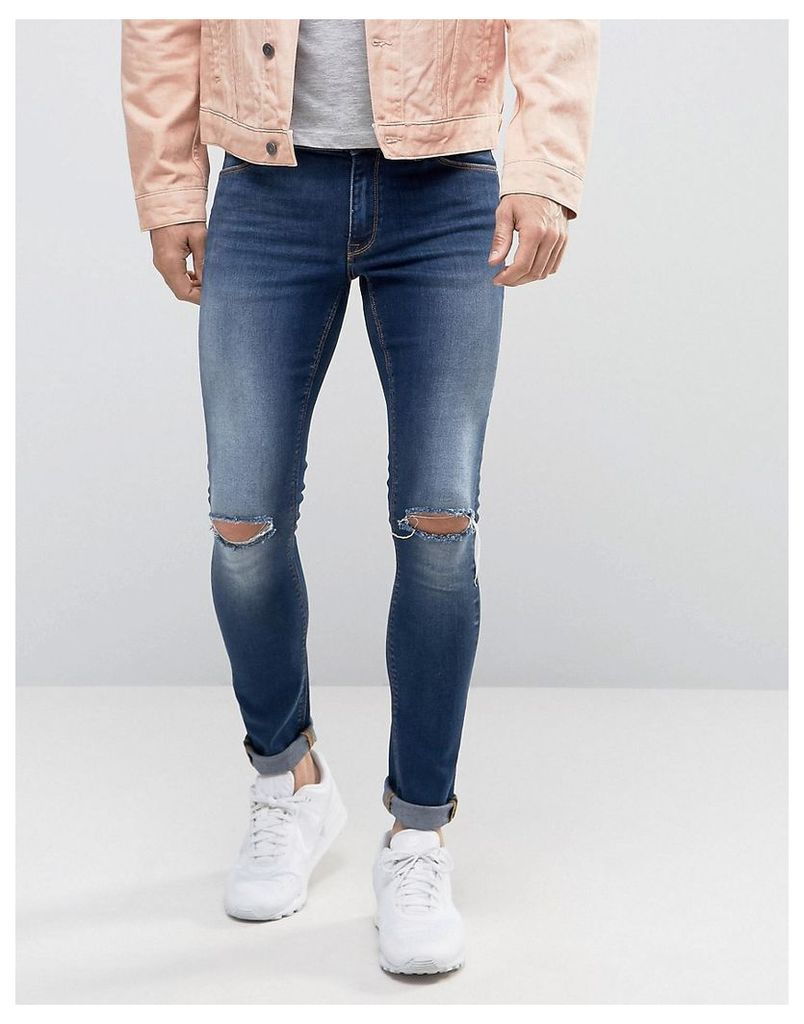 ASOS Extreme Super Skinny With Knee Rips In Mid Blue Wash - Mid blue
