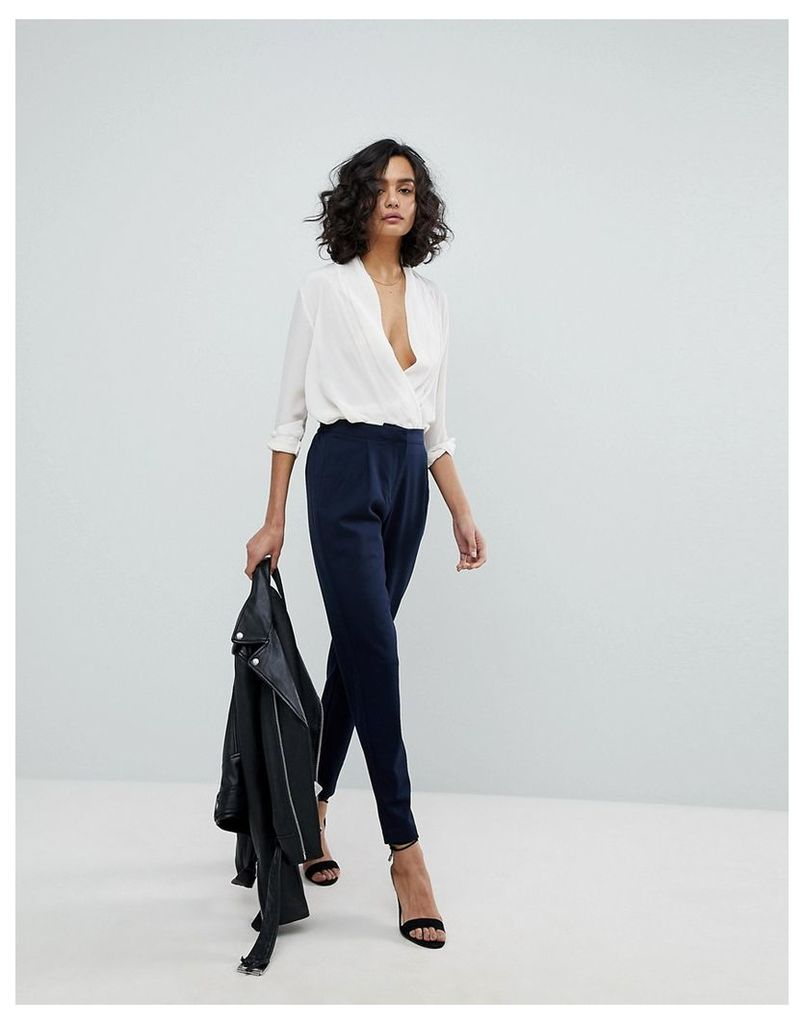 Y.A.S Tailored Trouser With Elasticated Waist - Navy