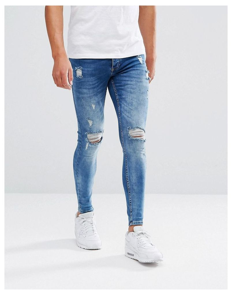 Kings Will Dream Muscle Jeans In Midwash Blue With Distressing - Blue