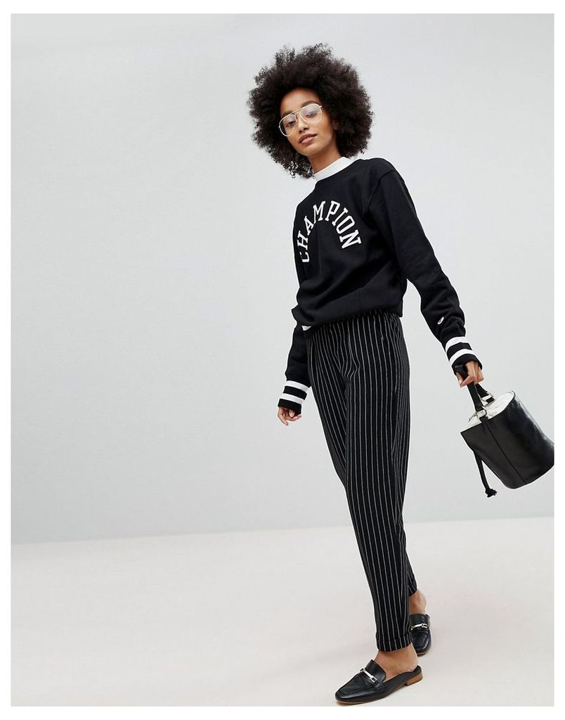 Pieces Stripe Cigarette Trousers - Black