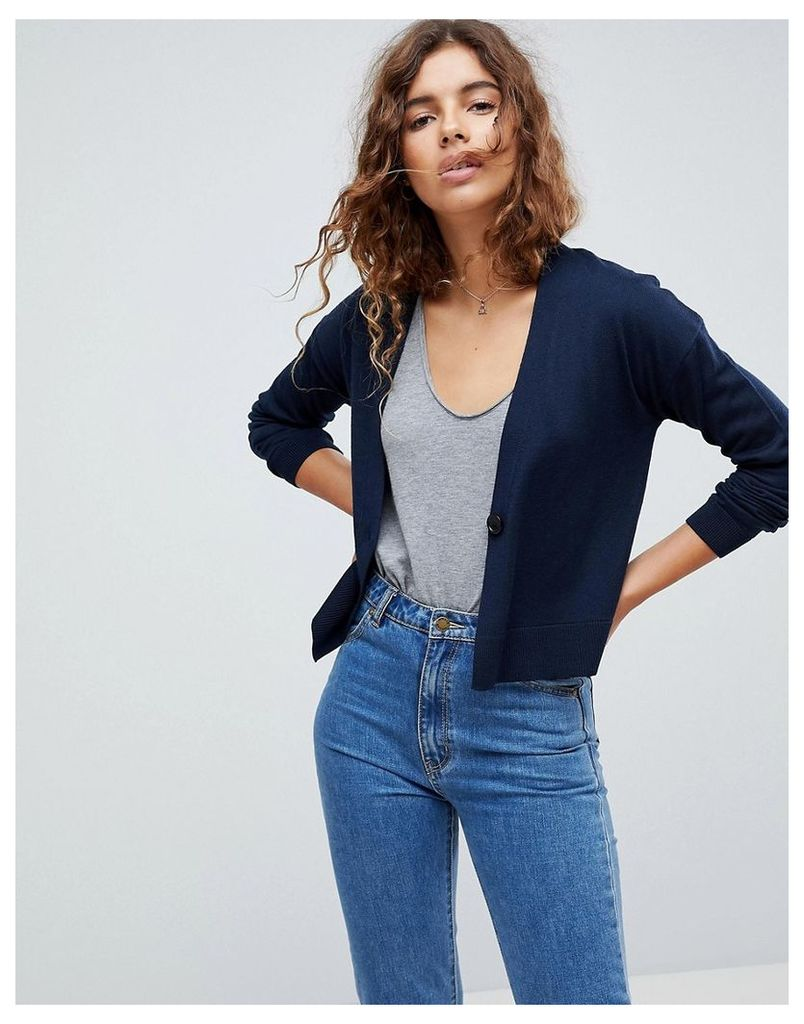 ASOS Cardigan In Fine Knit With One Button - Navy