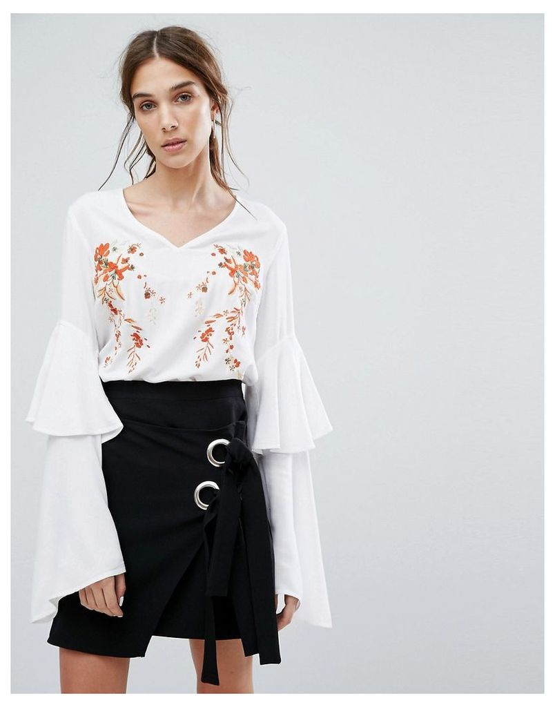 Neon Rose V-Neck Top With Layered Ruffle Sleeves And Floral Embroidery - White