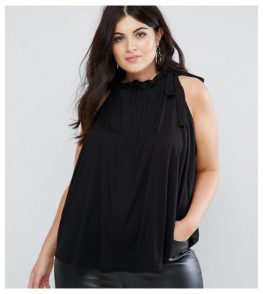 ASOS CURVE Swing Top with Ruched Neck - Black