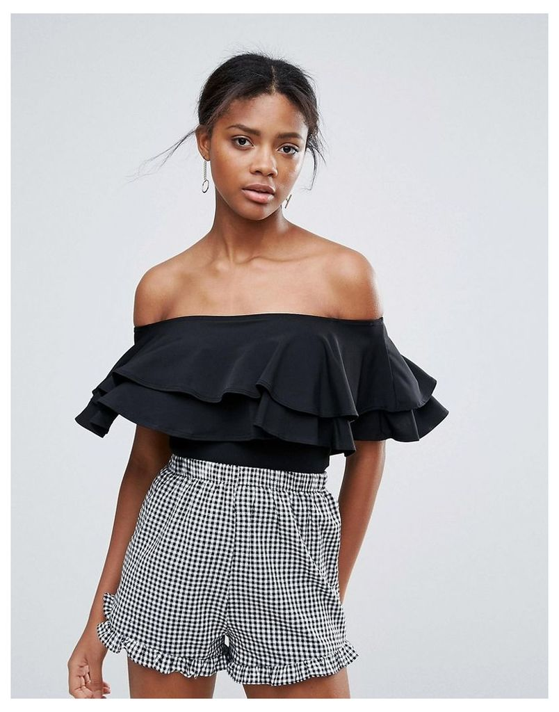 New Look Frill Bardot Bodysuit - Black