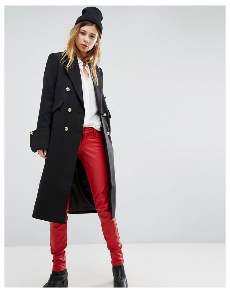 ASOS Slim Coat with Gold Button Detail - Black