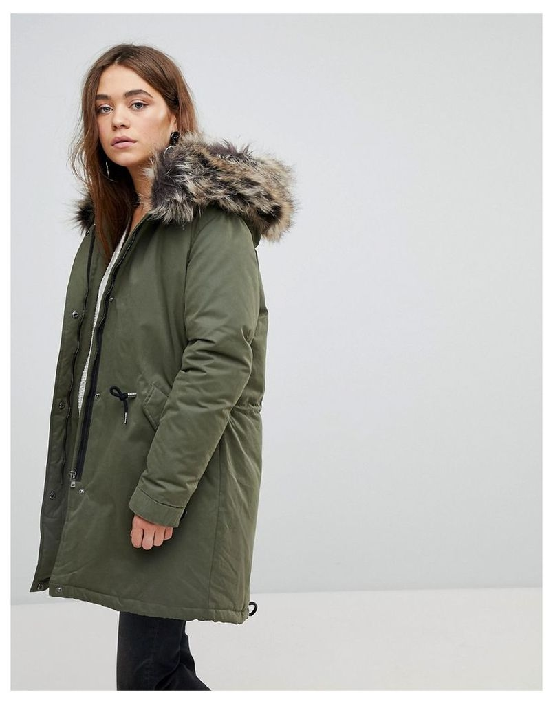 Only Down Parka With Faux Fur Hood - Green
