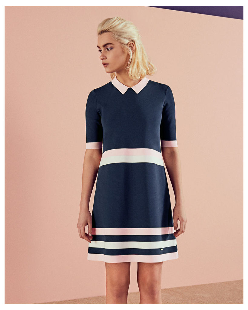 Ted Baker Colour-block knitted dress Navy