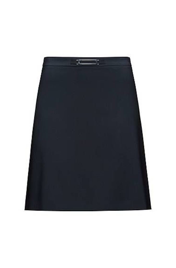 A-line skirt in stretch wool with hardware