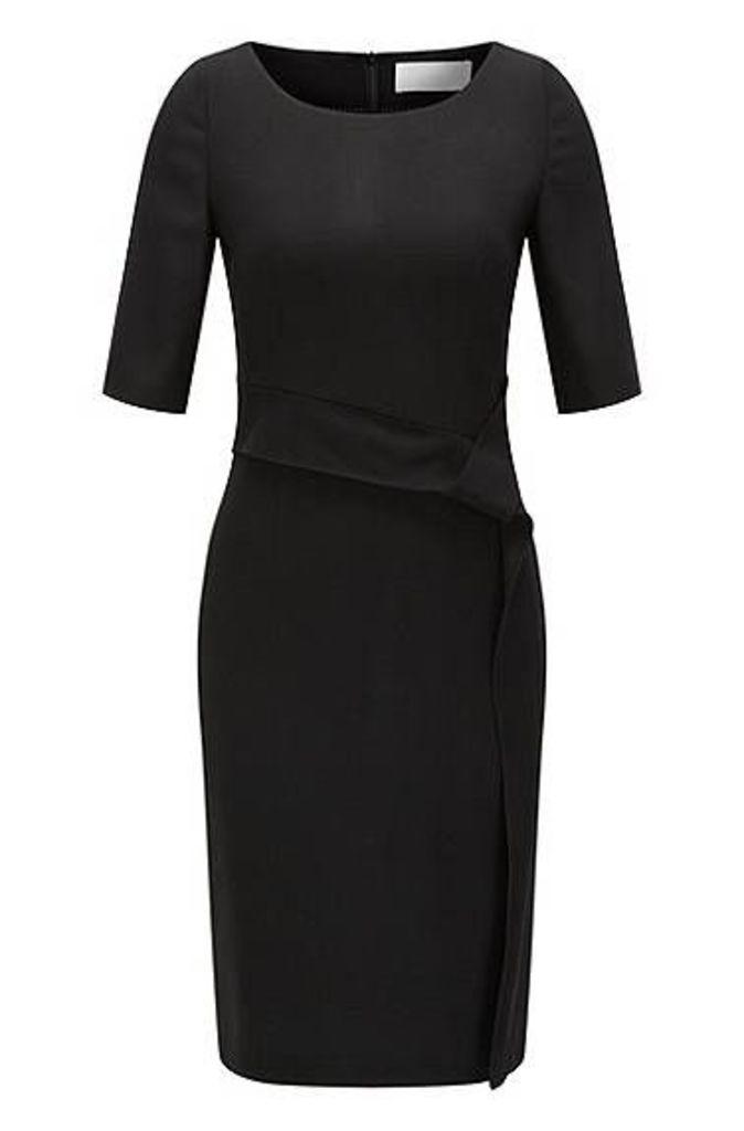Stretch virgin wool shift dress with drape detail