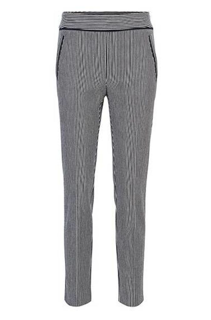 Regular-fit cropped trousers in denim-stripe stretch cotton