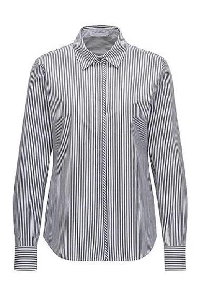 Pinstripe regular-fit shirt in stretch cotton
