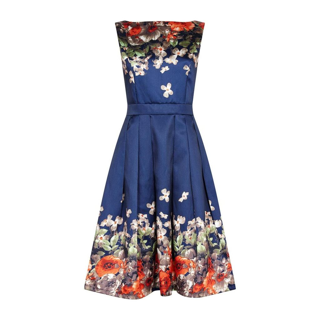 Mela London Floral Boarder Prom Dress, Blue